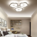 3/6/9 Heads Unique Flower Ceiling Fixture Modern Iron Acrylic White Ceiling Lights for Indoor