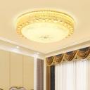 Opal Glass Bowl Flush Mount Lighting Modernism 1 Light Indoor Lighting for Living Room