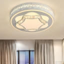 Hexagon Dining Room Ceiling Light Acrylic Contemporary LED Ceiling Mount Light in Brown/White