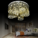 Hotel Bedroom Circular Flush Ceiling Light Clear Crystal Ball Elegant LED Ceiling Lamp in Chrome