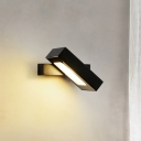 1 Head Rectangle Wall Mount Lighting Modernism Metal Adjustable Reading Wall Light in Black/Grey/White