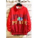 Mens Trendy Letter PEACE Printed Colorblock Patched Long Sleeve Elastic Hem Casual Sports Pullover Sweatshirt