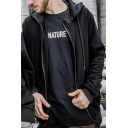 Cool Fashion Letter THE HELL Printed Hollow Detail Black Long Sleeve Unisex Zip Up Hoodie