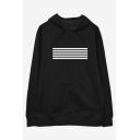 Mens Simple Fashion Stripe Printed Long Sleeve Loose Fit Casual Pullover Hoodie