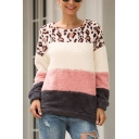 New Stylish Leopard Print Color Block Round Neck Long Sleeves Loose Fluffy Teddy Pullover Sweatshirt