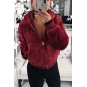 Women's Fashion Plain Warm Fluffy Teddy Long Sleeve Zip Up Hoodie