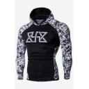Mens Hot Fashion Logo Letter Printed Long Sleeve Black Casual Slim Fitted Sports Hoodie