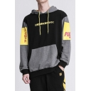 Mens Trendy Colorblock Japanese Style Letter Printed Black Long Sleeve Casual Pullover Hoodie