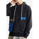 Mens Stylish Colorblocked Pocket Patched Letter Printed Long Sleeve Drawstring Sports Hoodie
