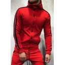 Men's Popular Striped Print Long Sleeve Button Down Pullover Drawstring Hoodie