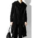 Men's New Fashion Simple Plain Long Sleeve Zipper Front Longline Nightclub Hoodie