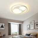 Matte White Round Flush Ceiling Light Modern Metal Led Flush Mount Light Fixture