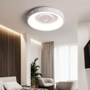 White Drum Shade Flush Mount Modern Metallic Led Flush Ceiling Light with Clear Crystal Bead