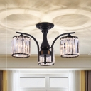 Clear Crystal Drum Ceiling Light 3/5 Lights Modern Black Semi Flush Ceiling Lamp for Bedroom