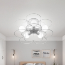 Modern Semi Flush Lighting with Metal Frame 5 Lights Semi Flushmount Light in Black/White
