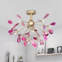 13 Lights Branch Semi Flush Mount Light Art Deco Metal and Agate Ceiling Light Fixture in Blue/Multi-Color/Pink/Purple