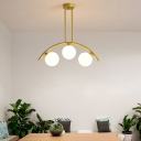 Modern Sphere Pendant Light with Metal Arc Arm 3/5/7/9 Lights Clear/White Glass Island Lighting in Gold