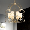 6 Lights Cylinder Chandelier Antique Style White Fabric Shade Suspension Lamp with Brass Metal Frame