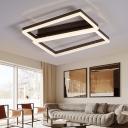 Brown Square Flush Mount Lighting Contemporary Metallic Indoor Led Lighting for Living Room