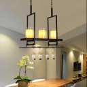 Linear Pendant Lighting with Clear Glass and Marble Lampshade 3/5 Lights Loft Island Chandelier in Black