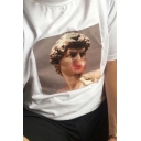 Fancy Bubble Gum Sculpture Figure Printed Short Sleeve Solid Color T Shirt