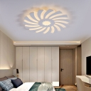 Bedroom Hotel Flower Flush Ceiling Light Acrylic Modern Style Warm/White Lighting LED Ceiling Light in White
