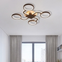 Sputnik Flush Ceiling Light with Ring Shade 4/6/8 Heads Nordic Iron Ceiling Flush Mount Light in Black