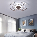 Metal Round Flushmount Light with Maze Design Contemporary 8/12/16-LED Flush Ceiling Lamp in Brown