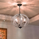Spherical Hanging Lamp Industrial Clear Crystal and Metal 3 Lights Black/Gold Pendant Light
