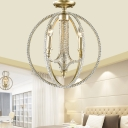 Wire Globe Semi Flush Mount Light 3 Lights Metal Country Style Ceiling Lighting in Brass with Crystal Beads