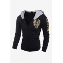 Men's New Stylish Leisure Gold Wing Print Long Sleeve Casual Drawstring Hoodie Jacket