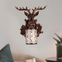 1 Light Cylinder Wall Mount Light with Deer Country Style Metal Wall Sconce for Corridor