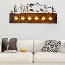 6 Bulbs Linear Bath Bar with Deer/Bear Rustic Loft Metal Bathroom Vanity Lighting in Rust