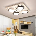 Black and White Cube Flushmount Light Modern Simple Led Indoor Flush Mount Ceiling Light in Third Gear, 27.5