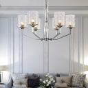 Cylinder Hanging Lamp with Clear Textured Glass Shade 6/8 Lights Modernism Chandelier Light in Chrome