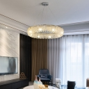 6 Lights Round Ceiling Chandelier Contemporary Clear Crystal Pendant Lamp in Polished Chrome