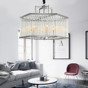 Hexagon Chandelier Lighting with Clear Crystal Rod Modern 6 Lights Hanging Pendant Light in Chrome