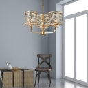 Gold Hollow Out Ceiling Pendant Light Traditional Metal 3 Lights Indoor Lighting with K9 Crystal