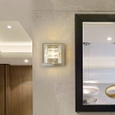 Clear Glass and Metal Square Wall Sconce 1 Light Modernist Wall Light in Chrome for Bedroom