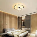 Modernist Circular Flush Ceiling Light Acrylic LED Black-White Flushmount Light in Warm/White, 16