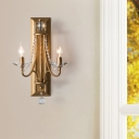 Double Candle Sconce Light Fixture with Clear Decorative Crystal Country Indoor Wall Lamp in Silver/Gold