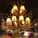 2-Tier Cone Chandelier Lamp with Antlers Decoration Village Fabric 12 Lights Living Room Hanging Light in Brown