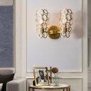 Gold Circle Wall Sconce Light with K9 Clear Crystal 2 Heads Vintage Wall Lighting for Bedroom