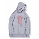 Lovely Cartoon Cat Print Long Sleeve Unisex Hooded Loose Relaxed Hoodie