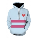 Nice Color Block Stripe Heart Long Sleeve Drawstring Hoodie with Pocket