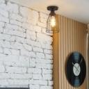 Bottle Cage Ceiling Light Fixture Vintage Metal 1 Light Lighting Fixture in Black for Hallway