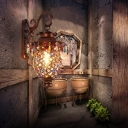 Metal Urn Wall Sconce Lighting with Crystal Bead Vintage 1 Light Wall Lamp in Copper for Corridor