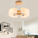 Wooden Round Chandelier Lamp with Opal Glass Shade 4/6 Heads Nordic Suspension Light for Living Room