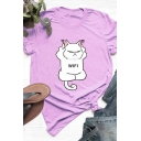Stylish WIFI Cat Print Round Neck Short Sleeve Loose T-Shirt for Girl