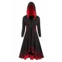 Color Block Eyelet Lace Up Vintage Pattern Printed Hooded Asymmetric Dress